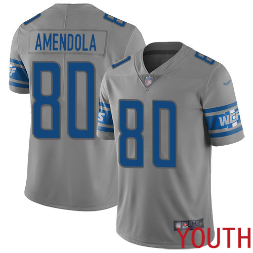 Detroit Lions Limited Gray Youth Danny Amendola Jersey NFL Football 80 Inverted Legend
