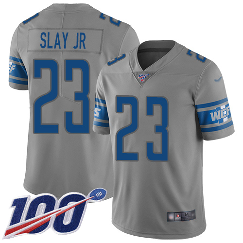 Detroit Lions Limited Gray Youth Darius Slay Jersey NFL Football 23 100th Season Inverted Legend