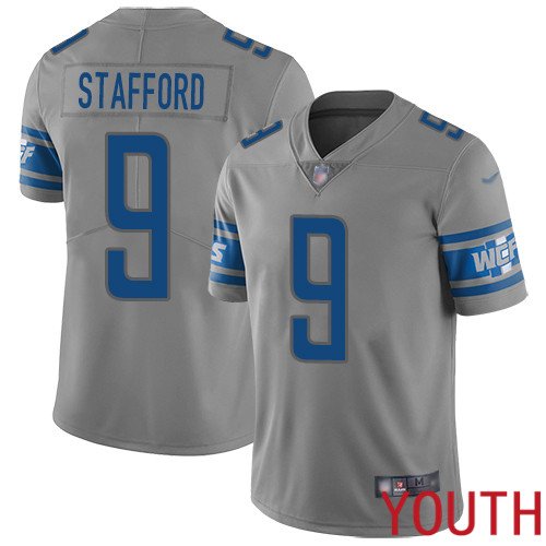 Detroit Lions Limited Gray Youth Matthew Stafford Jersey NFL Football 9 Inverted Legend