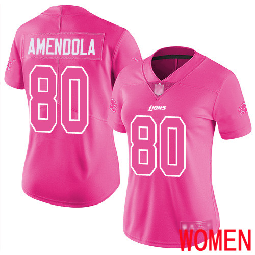 Detroit Lions Limited Pink Women Danny Amendola Jersey NFL Football 80 Rush Fashion