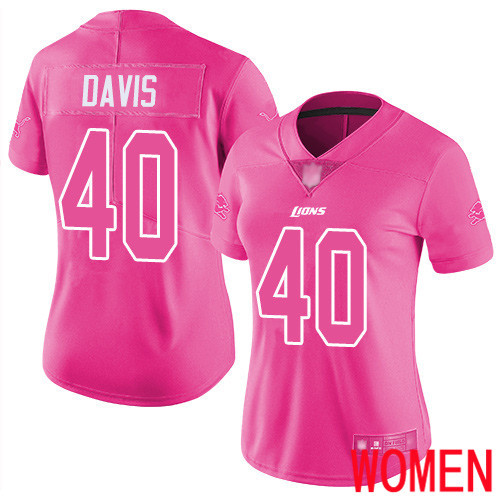 Detroit Lions Limited Pink Women Jarrad Davis Jersey NFL Football 40 Rush Fashion