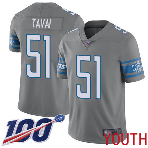 Detroit Lions Limited Steel Youth Jahlani Tavai Jersey NFL Football 51 100th Season Rush Vapor Untouchable
