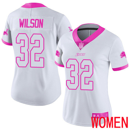 Detroit Lions Limited White Pink Women Tavon Wilson Jersey NFL Football 32 Rush Fashion