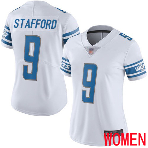 Detroit Lions Limited White Women Matthew Stafford Road Jersey NFL Football 9 Vapor Untouchable