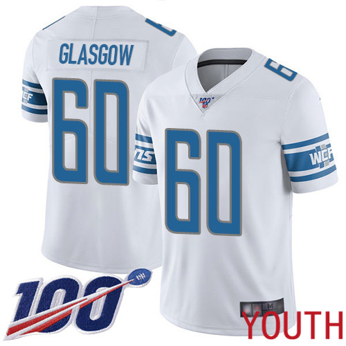 Detroit Lions Limited White Youth Graham Glasgow Road Jersey NFL Football 60 100th Season Vapor Untouchable