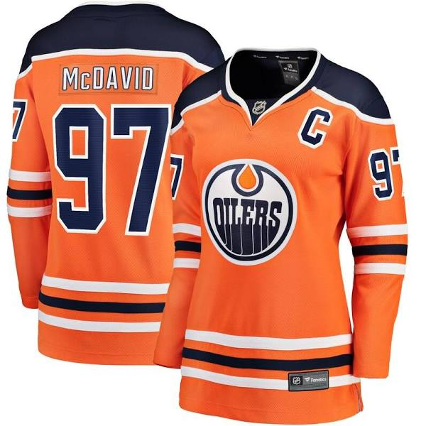 Edmonton Oilers Women Fanatics Branded Connor McDavid 97 Orange Home Premier Breakaway Player NHL Jersey