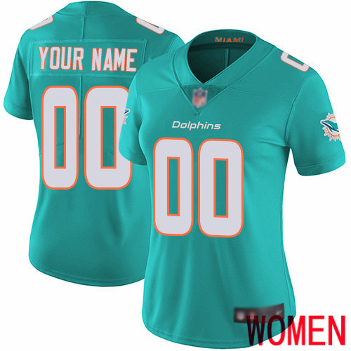 Limited Aqua Green Women Home Jersey NFL Customized Football Miami Dolphins Vapor Untouchable