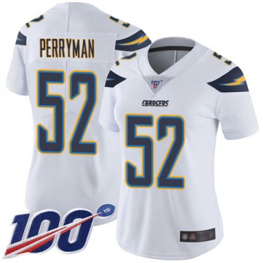 Los Angeles Chargers NFL Football Denzel Perryman White Jersey Women Limited 52 Road 100th Season Vapor Untouchable