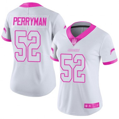 Los Angeles Chargers NFL Football Denzel Perryman White Pink Jersey Women Limited 52 Rush Fashion