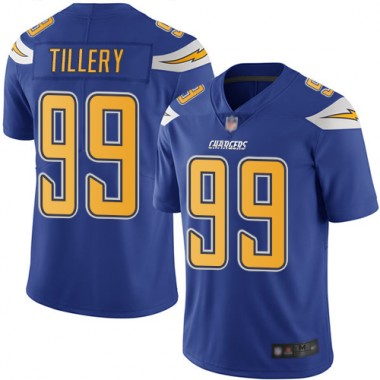 Los Angeles Chargers NFL Football Jerry Tillery Electric Blue Jersey Men Limited 99 Rush Vapor Untouchable