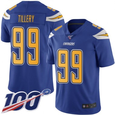 Los Angeles Chargers NFL Football Jerry Tillery Electric Blue Jersey Men Limited 99 100th Season Rush Vapor Untouchable
