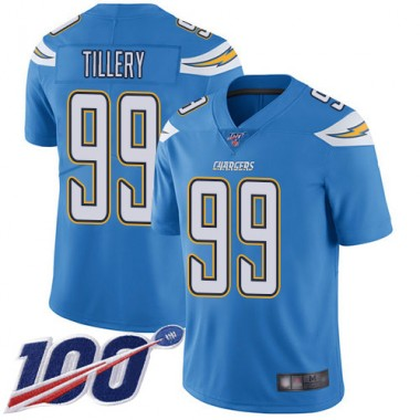 Los Angeles Chargers NFL Football Jerry Tillery Electric Blue Jersey Men Limited 99 Alternate 100th Season Vapor Untouchable