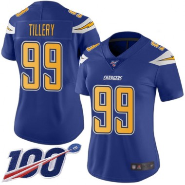 Los Angeles Chargers NFL Football Jerry Tillery Electric Blue Jersey Women Limited 99 100th Season Rush Vapor Untouchable