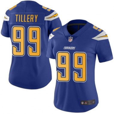 Los Angeles Chargers NFL Football Jerry Tillery Electric Blue Jersey Women Limited 99 Rush Vapor Untouchable