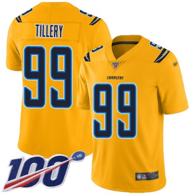 Los Angeles Chargers NFL Football Jerry Tillery Gold Jersey Men Limited 99 100th Season Inverted Legend