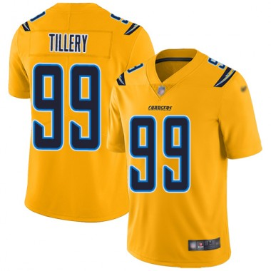 Los Angeles Chargers NFL Football Jerry Tillery Gold Jersey Men Limited 99 Inverted Legend