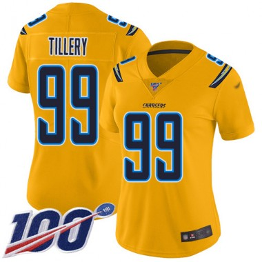 Los Angeles Chargers NFL Football Jerry Tillery Gold Jersey Women Limited 99 100th Season Inverted Legend