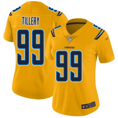 Los Angeles Chargers NFL Football Jerry Tillery Gold Jersey Women Limited 99 Inverted Legend