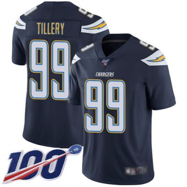 Los Angeles Chargers NFL Football Jerry Tillery Navy Blue Jersey Men Limited 99 Home 100th Season Vapor Untouchable