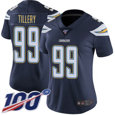 Los Angeles Chargers NFL Football Jerry Tillery Navy Blue Jersey Women Limited 99 Home 100th Season Vapor Untouchable