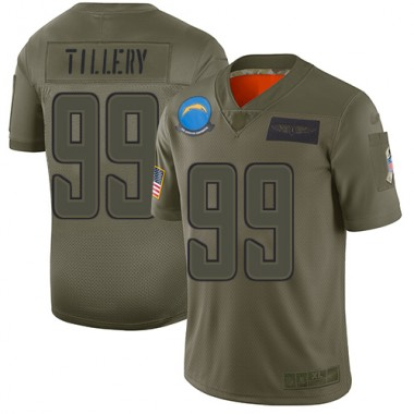 Los Angeles Chargers NFL Football Jerry Tillery Olive Jersey Men Limited 99 2019 Salute to Service