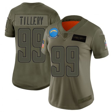 Los Angeles Chargers NFL Football Jerry Tillery Olive Jersey Women Limited 99 2019 Salute to Service