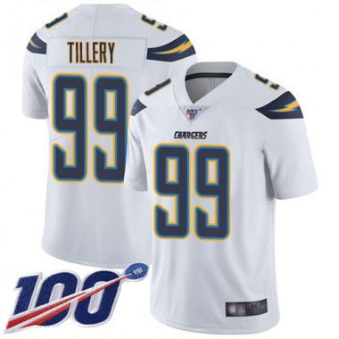 Los Angeles Chargers NFL Football Jerry Tillery White Jersey Men Limited 99 Road 100th Season Vapor Untouchable