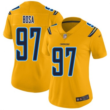 Los Angeles Chargers NFL Football Joey Bosa Gold Jersey Women Limited 97 Inverted Legend