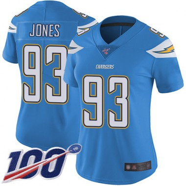 Los Angeles Chargers NFL Football Justin Jones Electric Blue Jersey Women Limited 93 Alternate 100th Season Vapor Untouchable