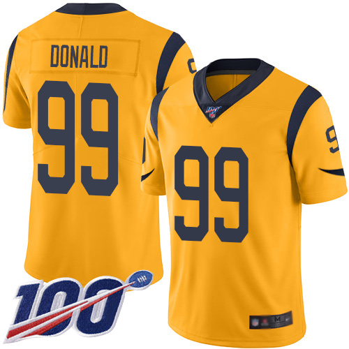 Los Angeles Rams Limited Gold Men Aaron Donald Jersey NFL Football 99 100th Season Rush Vapor Untouchable