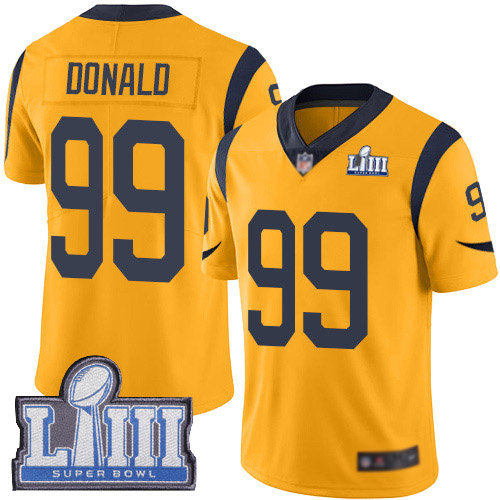 Los Angeles Rams Limited Gold Men Aaron Donald Jersey NFL Football 99 Super Bowl LIII Bound Rush Vapor Untouchable