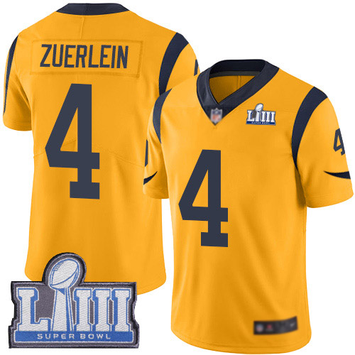 Los Angeles Rams Limited Gold Men Greg Zuerlein Jersey NFL Football 4 Super Bowl LIII Bound Rush Vapor Untouchable