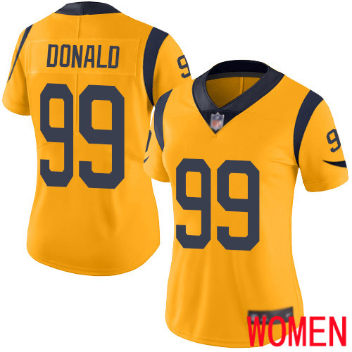 Los Angeles Rams Limited Gold Women Aaron Donald Jersey NFL Football 99 Rush Vapor Untouchable
