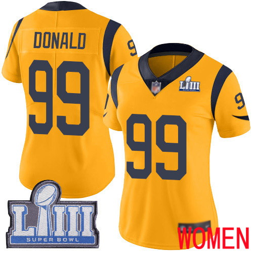 Los Angeles Rams Limited Gold Women Aaron Donald Jersey NFL Football 99 Super Bowl LIII Bound Rush Vapor Untouchable