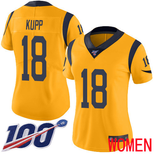 Los Angeles Rams Limited Gold Women Cooper Kupp Jersey NFL Football 18 100th Season Rush Vapor Untouchable