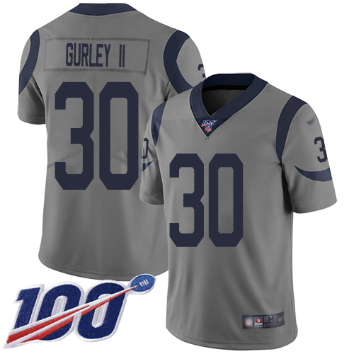 Los Angeles Rams Limited Gray Men Todd Gurley Jersey NFL Football 30 100th Season Inverted Legend