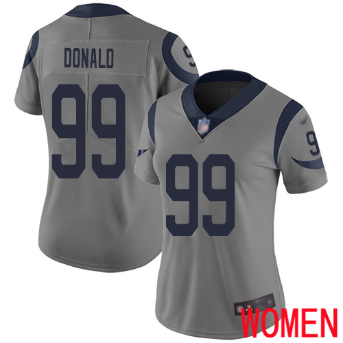 Los Angeles Rams Limited Gray Women Aaron Donald Jersey NFL Football 99 Inverted Legend