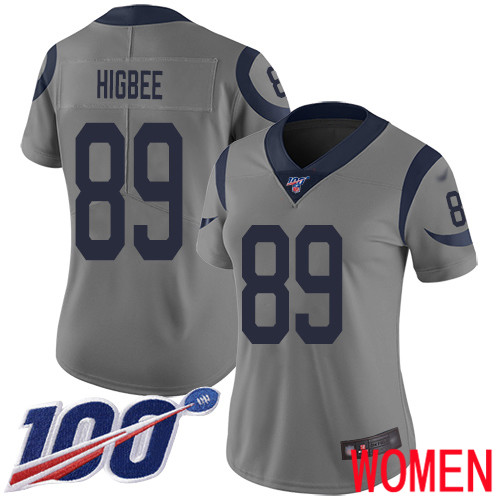Los Angeles Rams Limited Gray Women Tyler Higbee Jersey NFL Football 89 100th Season Inverted Legend