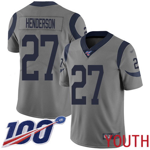 Los Angeles Rams Limited Gray Youth Darrell Henderson Jersey NFL Football 27 100th Season Inverted Legend
