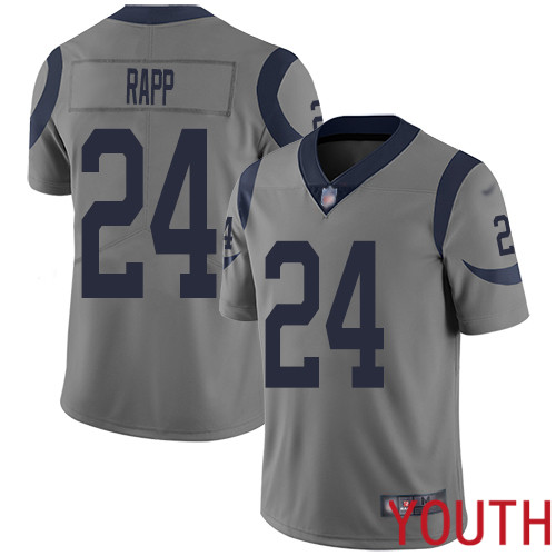 Los Angeles Rams Limited Gray Youth Taylor Rapp Jersey NFL Football 24 Inverted Legend