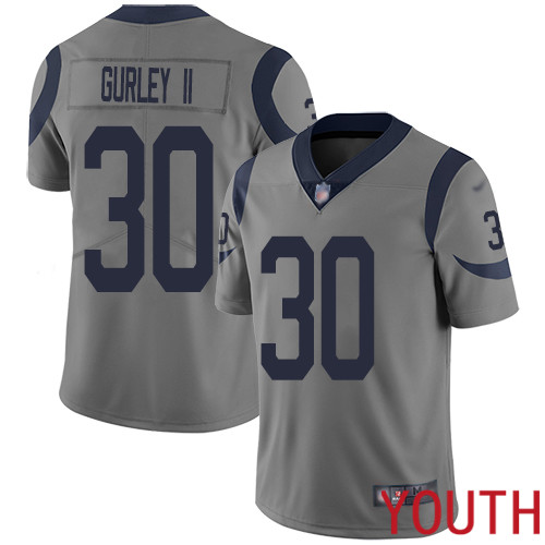 Los Angeles Rams Limited Gray Youth Todd Gurley Jersey NFL Football 30 Inverted Legend