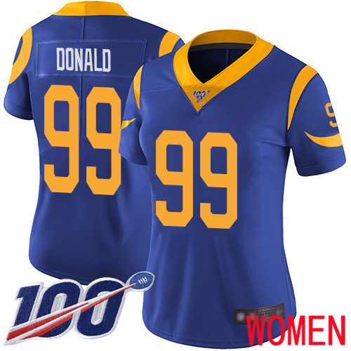 Los Angeles Rams Limited Royal Blue Women Aaron Donald Alternate Jersey NFL Football 99 100th Season Vapor Untouchable