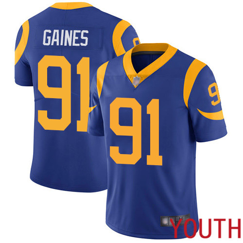 Los Angeles Rams Limited Royal Blue Youth Greg Gaines Alternate Jersey NFL Football 91 Vapor Untouchable
