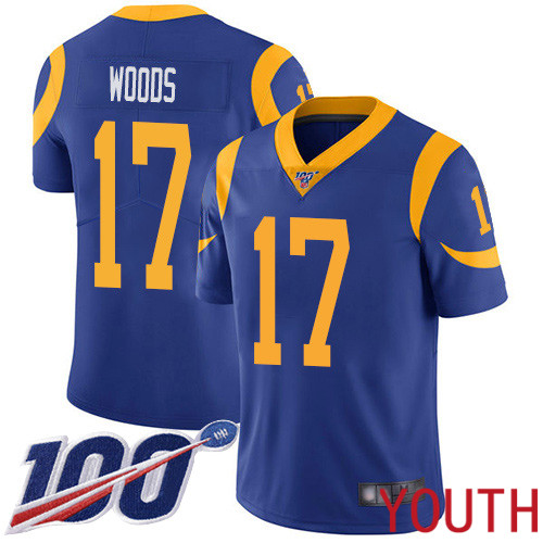 Los Angeles Rams Limited Royal Blue Youth Robert Woods Alternate Jersey NFL Football 17 100th Season Vapor Untouchable