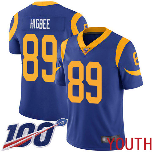 Los Angeles Rams Limited Royal Blue Youth Tyler Higbee Alternate Jersey NFL Football 89 100th Season Vapor Untouchable