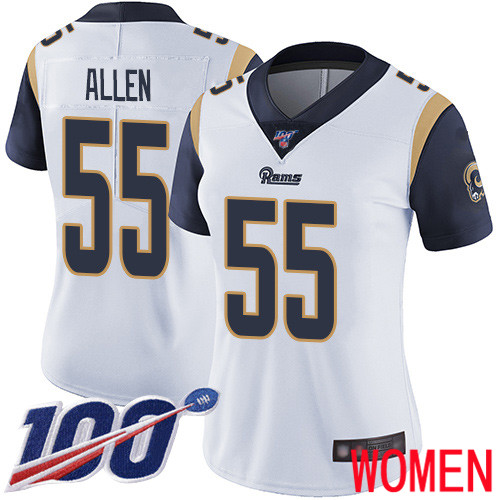 Los Angeles Rams Limited White Women Brian Allen Road Jersey NFL Football 55 100th Season Vapor Untouchable