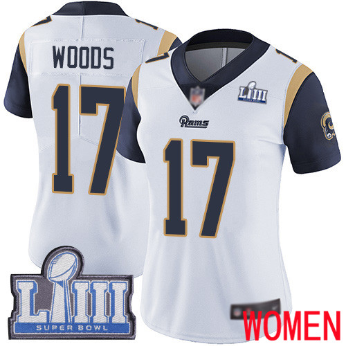 Los Angeles Rams Limited White Women Robert Woods Road Jersey NFL Football 17 Super Bowl LIII Bound Vapor Untouchable
