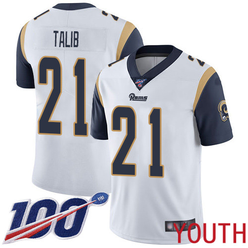 Los Angeles Rams Limited White Youth Aqib Talib Road Jersey NFL Football 21 100th Season Vapor Untouchable