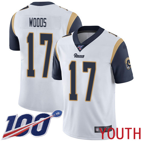Los Angeles Rams Limited White Youth Robert Woods Road Jersey NFL Football 17 100th Season Vapor Untouchable