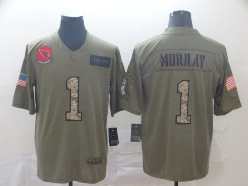 Men Arizona Cardinals 1 Murray Nike 2019 Olive Camo Salute to Service Limited NFL Jerseys